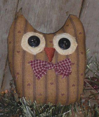 Primitive Americana Owl Bird Ornie Ornament Bowl Filler Shelf Sitter Tuck photo