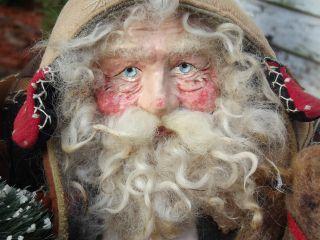 Kim ' S Klaus~handmade Santa~vintage Christmas~anitique Sleigh Bell~crazy Quilt photo