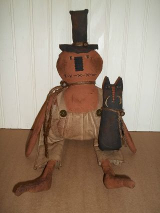 ♥ Primitive Grungy Mr.  Pumpkin And Spooky Cat Halloween Doll Set ♥ photo