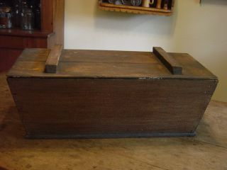 Early Pa 19c Antique Dough Box. .  Dovetailed Sq Nails Small Size. .  Aafa photo