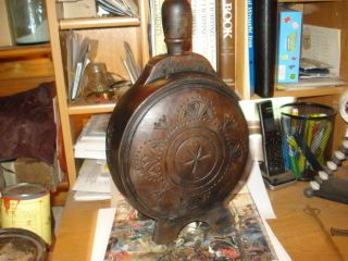 Rev War 18th Century Pa.  German Carved Walnut Treenware Canteen Must See 18th C. photo