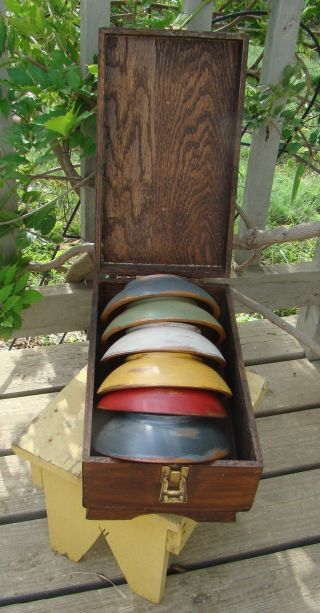 ~ 6 Primitive Munising Wood Dough Bowls In Old Wooden Drawer Box ~ photo