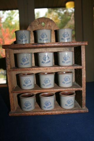 Antique Primitive Bee Joyful 12 Miniature Stoneware Crocks Blue & White/gray photo