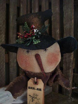 Primitive Snowman Head == Top Hat == Bobbin Doll == 11 X 8 In.  == photo