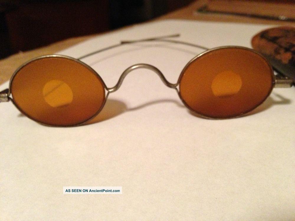 Antique Civil War Sharpshooter Shooters Glasses Striaght Sides & Case. Primitives photo