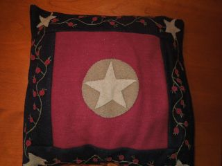 Country Primitive Pillow Burgundy/black/tan W/star And Berries photo