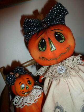 Bitti & Boo Pumpkin Doll & Gourd Baby Halloween Handmade Primitive Doll Tmap Oh. photo