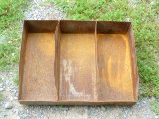 Vintage Primitive Rusty Metal Divided Bin photo