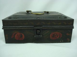 An Excellent 19th Century Paint Decorated Toleware Spice Box photo