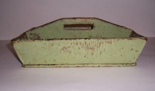 Antique Primitive Early Small Wooden Green Painted Cutlrey Utensil Tote Box photo