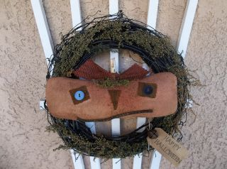 Primitive Halloween Door Greeter/peg Hanger - Jack - O - Lantern On Painted Wreath photo