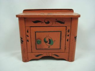 A Wonderful 19th Century Apprentice Paint - Decorated Miniature Commode photo