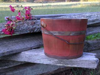 1800s Primitive Wooden Bucket Bail Handle Staved Old Style Bittersweet Paint Nr photo