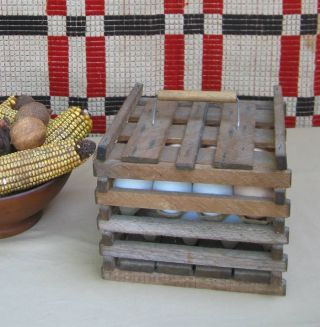 Small Vintage Wooden Primitive Egg Crate Carrier With Eggs photo