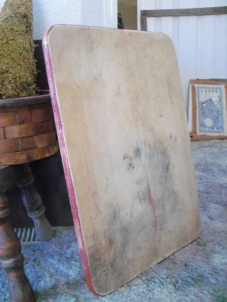 Vintage Large Wood Cutting Board - - Dough Board - - Barn Red Edges photo