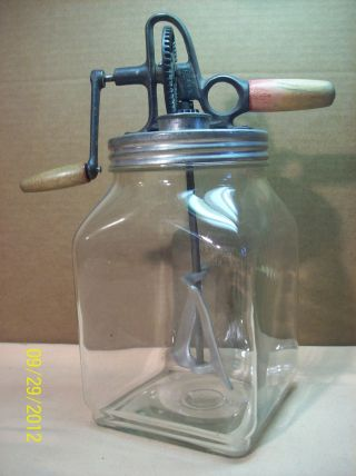 Antique~sunbeam Mixmaster Butter Churn~4 Qt.  Hand Crank Primitive Kitchenware~vg photo