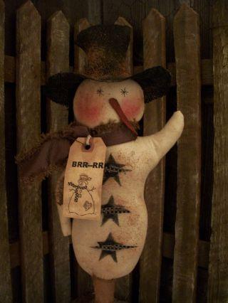 Primitive Snowman W/ Arm Up Bobbin == Doll ==16 X 6 In.  == photo
