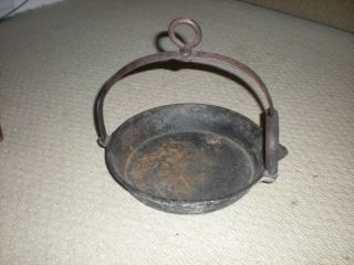 Primitive Hanging Cast Iron Pan Griddle Old Vintage Cooking Fireplace photo