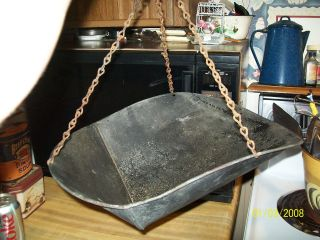 Vintage Feedstore Old Scoop Hanging Metal Scale Pan,  Primitive,  Rustic Display photo