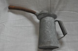 Antique Primitive Galvanized Oil Can Two Quart With Flexible Spout photo