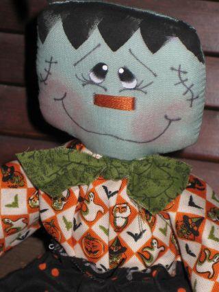 Primitive Hc Halloween Small Frankenstein Doll Ornie Tuck Shelf Sitter photo