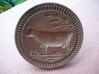 Wonderful Antique Wood Butter Stamp Cow Motif Ornate Border L@@k photo