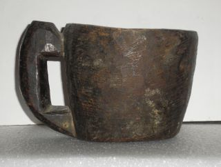 Primitive Antique Indian Native Wood Hand Treen Carved Feast Cup Stein Mug photo
