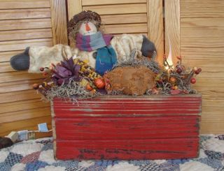Primitive Fall Autumn Scarecrow Pumpkin Centerpiece Gathering Lamp Aged Chenille photo
