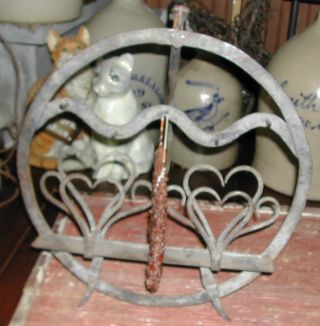 Antique & Unique Metal Hearts Hearth Cooking Game Rack Stand~ photo