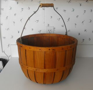 Spectacular Vintage Bushel Rib Sides Oak Splint Apple Harvest Primitive Basket photo