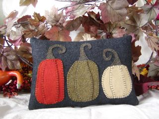 Prim 3 Pumpkin Folk Art Wool Pillow~autumn~fall~halloween~thanksgiving photo