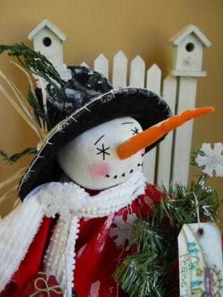 Primitive Folk Art Sweet Raggedy Snow Man photo