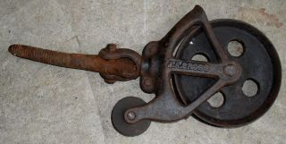 Rare 1800 ' S J.  A.  Cross Hay Trolley Barn Pulley photo