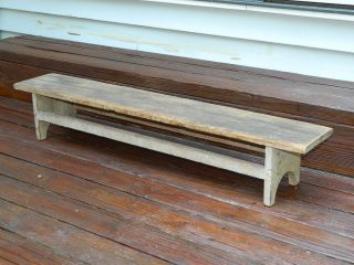 Rare 19th C Shaker Kneeling Bench Dry Old Putty Paint Untouched photo