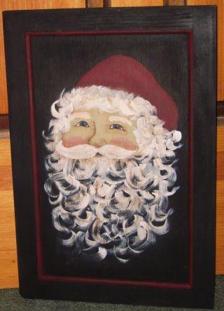 ~ Primitive ~ Hp Folk Art Santa ~ Christmas ~ Winter ~ Door Panel photo