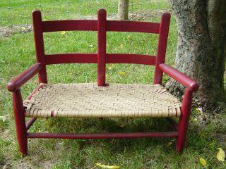 Antique Painted Pa Child ' S Double Wagon Seat. .  Old Splint Seat. .  Aafa photo