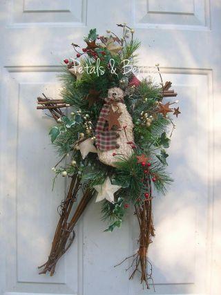Country Christmas,  Winter Snowman Holiday Rustic Door Star Wreath Arrangement photo