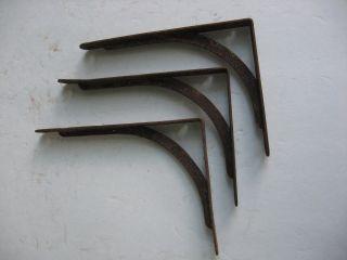 Set Of 3 Antique Primitive Steel Shelf Brackets Farm Garden Home Decor Barn Find photo