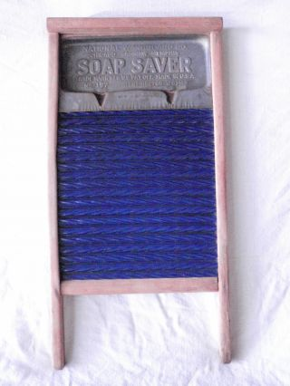 Antique National Washboard No 197 Cobalt Blue Porcelain Enamel Soap Saver Vintag photo