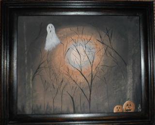 Primitive Halloween Painting. . .  8x10 photo