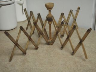 Primitive Wooden Drying Rack Round Expandable 8