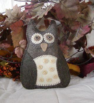 Folk Art Wool Woodland Owl Doll~pillow~fall~autumn photo