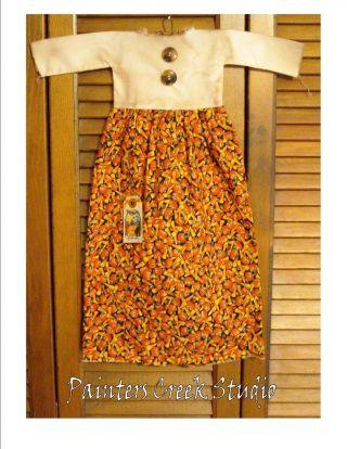 Prim Doll Dress W/hanger Primitive Decor Candy Corn Halloween Cupboard Hanger photo