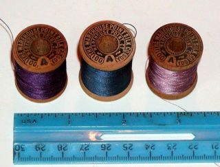 3 Still Full Wood Spools Silk Thread Warehouse Point Connecticut Silk Company photo