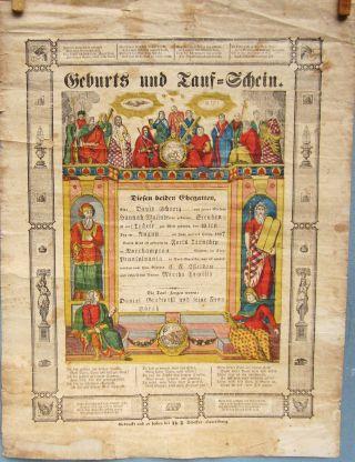 Fraktur Pa German Baptism Cert. ,  Rare Printed In - Fill,  T.  Scheffer 1857 photo
