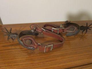 Old Vintage Boot Spurs Collector Unique Detail Hammered Design photo