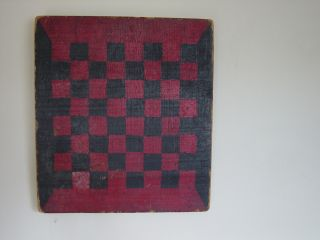 Great Old Antique 19c Painted Black & Red Gameboard Aafa photo