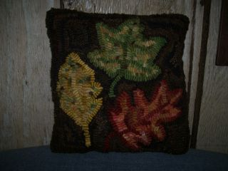 Primitive Hand Hooked Wool Rug~fall Leaves Pillow~rustic Folk Art~prhg photo