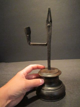 Fine Antique 18th C Iron & Wood Rushlight Candle Holder Primitive Rush Light photo