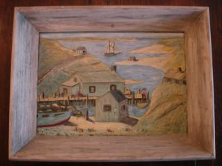 Primitive Hand Chiseled Painted Folk Art Harbor Seaside Maritime Scene Painting photo